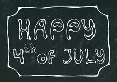 Black Board Background. Happy USA Independence Day 4 th July Lettering in a Frame. Baloons, Stars, Flag. Greeting card and poster. Design. Realistic Hand Drawn royalty free illustration