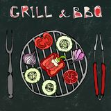 Black Board Background. Vegetarian Grill. Vegetable BBQ. Picnic and Barbeque Appliances Tongs and Fork. Tomato, Bell Pepper, Onion. Garlic and Zucchini.Hand stock illustration