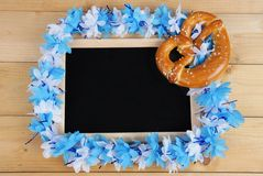 Black board with bavarian girland Stock Photography