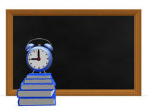 Black Board Books and Alarm Clock. A 3D illustration of stack of blue notebooks, with an alarm clock placed on top of it, in front of a blackboard. It can be Royalty Free Stock Images