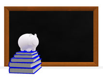 Black Board Books and Savings Piggy Bank. A 3D illustration of a  stack of blue hard bound notebooks with a savings piggy bank on top, placed in front of a Royalty Free Stock Photography