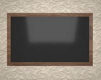 Black board in a brown frame for drawing and recording Royalty Free Stock Photography