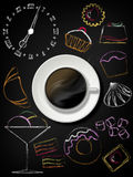 Black board with coffee cup, plate and design sweet elements Stock Images