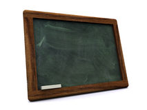 Black board. 3D view of a black board with a kings wood frame Royalty Free Stock Photo
