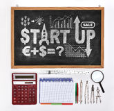 Black board with drawing start up Stock Photography
