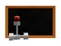 Black Board Dumbbells and Apple Royalty Free Stock Photography