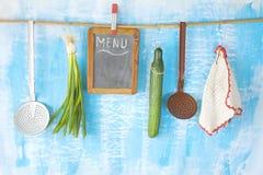 Black board for menu,kitchen utensils,vegetables, good copy spac Royalty Free Stock Images