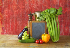 Black board for menu and vegetables Royalty Free Stock Images