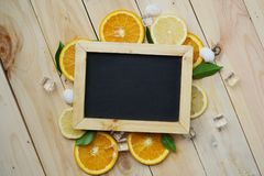 Black Board Orange Leaves Cube Ice Sea Shells Citrus Pattern on Stock Photography