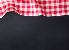 Black board picnic cloth menu recipe background. Royalty Free Stock Photo