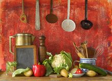 Black board for recipe,vegtables Stock Image