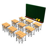 Black Board And School Desks Royalty Free Stock Image