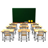 Black Board And School Desks Front View Stock Image