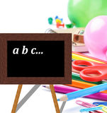 Black board and school  stationaries Stock Images