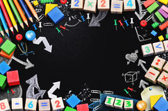 Black board with school tools temlate Royalty Free Stock Image