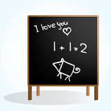Black board with simple pictures Royalty Free Stock Image