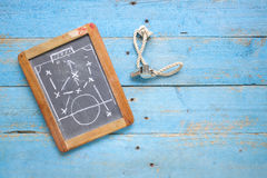 Black board with soccer tactics Stock Photography