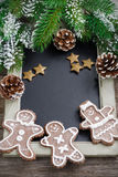 Black board for text and gingerbread man, christmas concept Royalty Free Stock Images