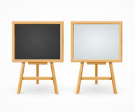 Black Board and White Set On Easel Front View. Vector. Wooden Black Board and White Set On Easel Front View. Vector illustration Stock Photos