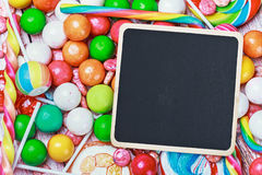 Black board for writing greetings on candy Stock Image