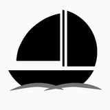 Black boat silhouette  Royalty Free Stock Photos