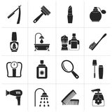 Black body care and cosmetics icons royalty free illustration