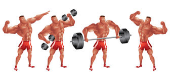 Black bodybuilder in different poses Stock Photography