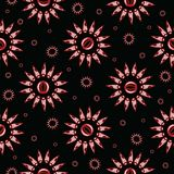 Black Bohemian Sunburst Floral Vector Pattern Seamless, Hand Drawn Stylized vector illustration