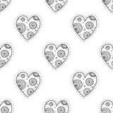 Black boho ornamental hearts seamless pattern Royalty Free Stock Image