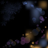 Black boke. Abstract black background with snowflakes and bokeh effect Stock Photo