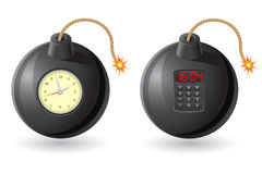 Black bomb with a burning fuse and clockwork vecto Stock Images