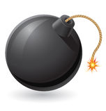 Black bomb with a burning fuse vector illustration. On white background Stock Photo