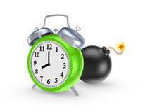 Black bomb and green watch. Royalty Free Stock Photography