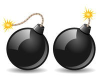 Black Bomb Icon. Burning in two different versions, isolated on white background. Eps file available Stock Photography