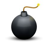 Black Bomb About To Blast with burning wick. Royalty Free Stock Photo