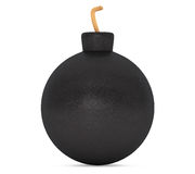 Black Bomb with Wick. 3d Rendering Stock Photos