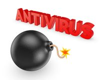 Black bomb and word ANTIVIRUS. Stock Images