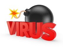 Black bomb and word VIRUS. Stock Photos