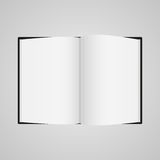 Black boock blank page template for design layout. Vector illustration on gray background Stock Photos