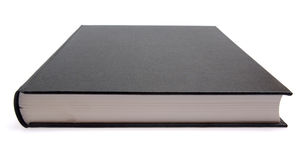 Black book. Generic hard bound black book with blank cover, isolated on white background stock photos
