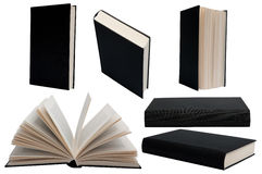 Black book. With hardcover in different positions against a white background Stock Photo
