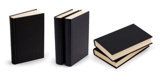 Black book blank cover set with clipping path Stock Image