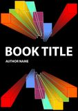 Black book cover with vivid prism shapes in rainbow colors. Spectrum colors on dark background. Vector EPS 10 Royalty Free Stock Image