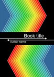Black book cover with vivid triangle shapes in rainbow colors. Spectrum colors on dark background. Vector EPS 10 Stock Photography