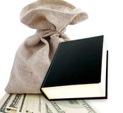 Black book and dollars. Stock Image