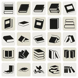 Black book simple icons set. Vector black book icons set on gray Stock Images