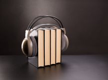 Black books and headphones Stock Photo