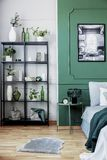 Black bookshelf with plants in the corner of chic bedroom interior with green wall.  stock photography