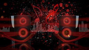 Black Bookshelf Speakers with Dark Red. Black bookshelf speakers sit at inward angles with a small reflection on the surface they rest upon Stock Photos