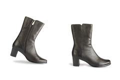 Black boots - one step Royalty Free Stock Images